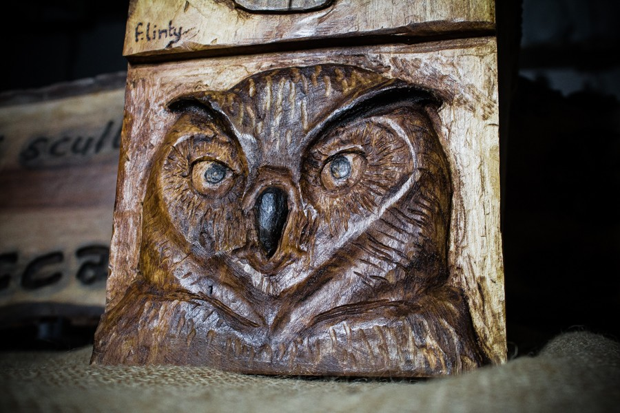 Owl with watch - Sculpture