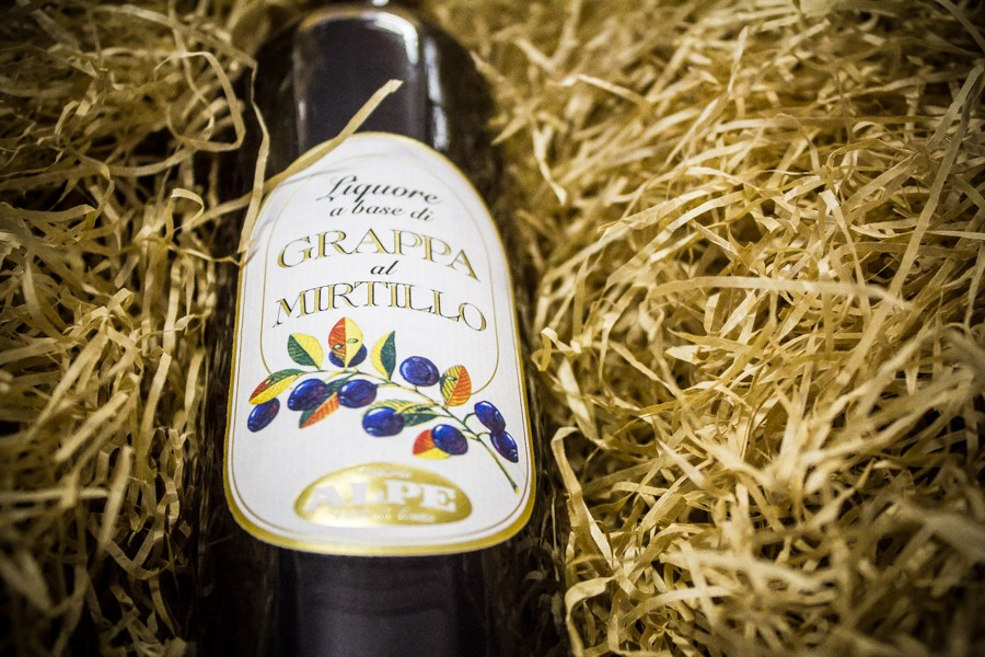 Blueberry grappa liqueur Alpe